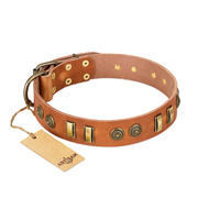 """Natural Beauty"" FDT Artisan Natural Leather Dog Collar"