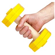 yellow dumbbell for dog