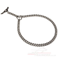 Chrome Plated Chain Dog Collar with Toggle-Closure