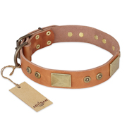 "Marvelous Dog Collar of Tan Leather ""The Middle Ages"" by Artisan"