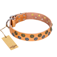 "Natural Leather Collar with Studs ""Precious Sparkle"" FDT Artisan"
