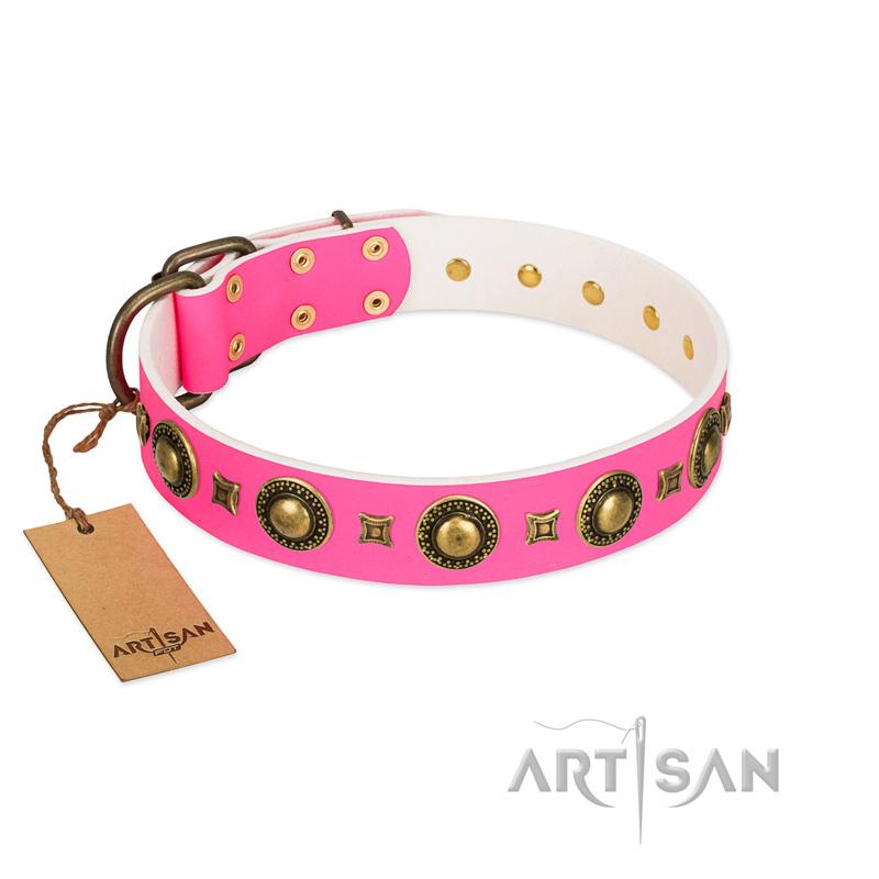 Luxury Pink Leather Dog Collar Fdt Artisan Cute Dog Collar 55 50