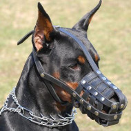 Soft Dog Muzzle Leather Basket | Leather Dog Muzzle for Doberman