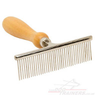 Dog Comb with Wooden Handle for Perfect Look of Dog Fur