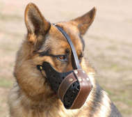 "German Shepherd Leather muzzle for dog ""Dondi plus"""