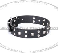 Adjustable Leather Skull Dog Collar by FDT Artisan