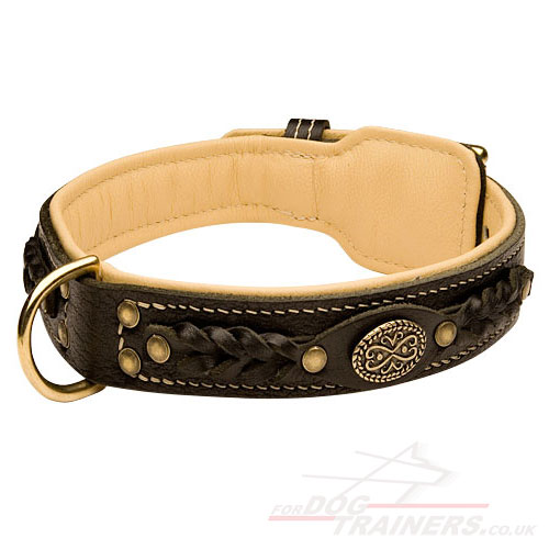 "Luxury Handmade Leather Dog Collar UK Bestseller ""Royal Style"""