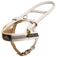 High Vis Guide Dog Harness with Handle, White Leather