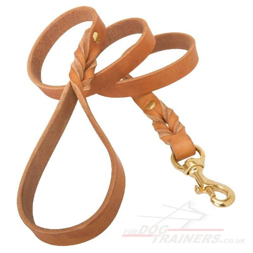 Natural Leather Dog Leash with Brass Fittings