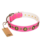 New! Pink and Gold Leather Dog Collar Shiny Glamour FDT Artisan