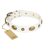 """Flawless White"" Leather Dog Collar by NEW Artisan Collection"