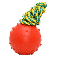 Rubber Dog Ball for Water Games | Solid Rubber Ball on Rope 2.4""