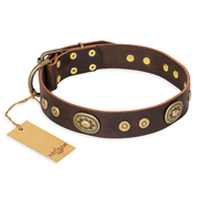 "Brown Leather Collar with Vintage Medals ""One of a Kind"" Artisan"