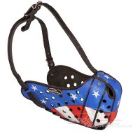 "Trendy Leather Dog Muzzle ""American Pride"""