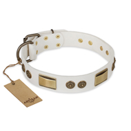"White Leather Dog Collar ""Golden Avalanche"" FDT Artisan"