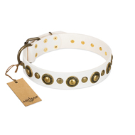FDT Artisan White and Gold Dog Collar Prescious Radiance