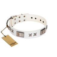 FDT Artisan White Leather Studded Dog Collar with Stars & Plates