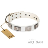 Elegant White Pearl Dog Collar with Plates FDT Artisan