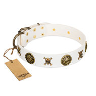 Buy White Studded Dog Collar by New FDT Artisan Collection
